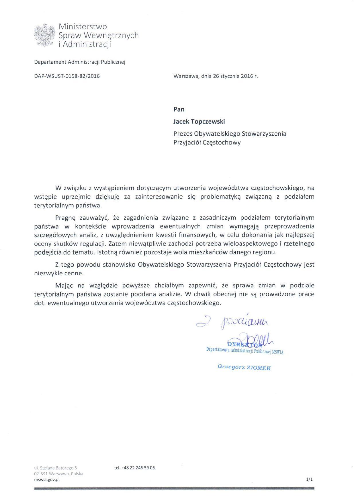 Jest odpowiedź w sprawie województwa częstochowskiego!